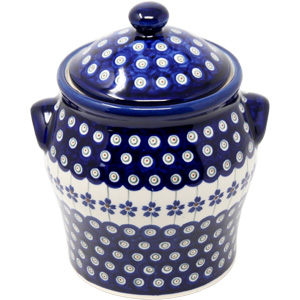 Polish Pottery Canister in Floral Peacock Pattern from Boleslawiec