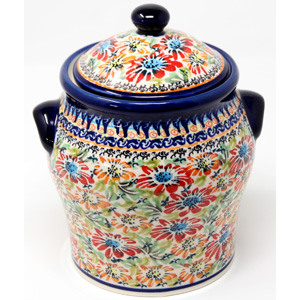 Large 1.6 Quart Polish Pottery Canister in Floral Garden Unikat Pattern
