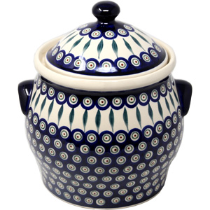 Canister in Peacock Polish Pottery Pattern from Boleslawiec