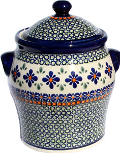 Large Canister 6.4 cup in Mosaic Flower Polish Pottery Pattern from Zaklady