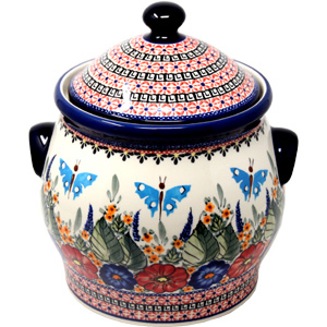 Extra Large 6 Quart Polish Pottery Cookie Jar / Canister from Zaklady Boleslawiec in Floral Butterfly Unikat Pattern
