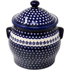 Polish Pottery Extra Large 6 Quart Cookie Jar / Canister in Floral Peacock Pattern from Boleslawiec