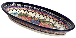 Polish Pottery Medium Oval Serving Dish, Unikat Signature Design 149 Art