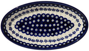 Polish Pottery Medium Oval Serving Dish, Floral Peacock Design