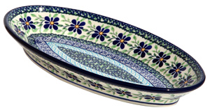 Polish Pottery Medium Oval Serving Dish, Unikat Design DU121