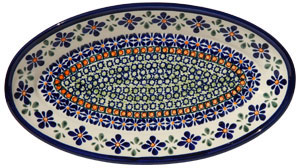 Polish Pottery Medium Oval Serving Dish, Unikat Design DU60