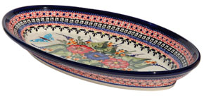 Polish Pottery Large Oval Serving Dish, Unikat Signature Design 149 Art