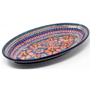 Large Oval Serving Dish, Polish Pottery in Poppies Pattern painted by Maria Binczycka