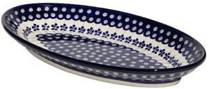 Polish Pottery Large Oval Serving Dish, Floral Peacock Design 166a