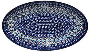 Polish Pottery Large Oval Serving Dish, Classic Design 217a