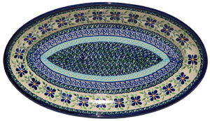 Polish Pottery Large Oval Serving Dish, Unikat Design DU121
