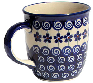 Polish Pottery Mug 12 Oz., Classic Design 1085a