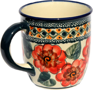 Polish Pottery Mug 12 Oz., Unikat Signature 124 Art