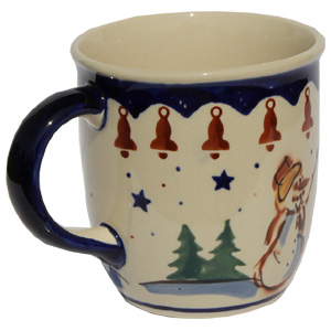 Polish Pottery Mug 12 Oz., Classic Design 178a
