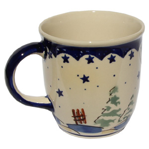 Polish Pottery Mug 12 Oz., Classic Design 182a