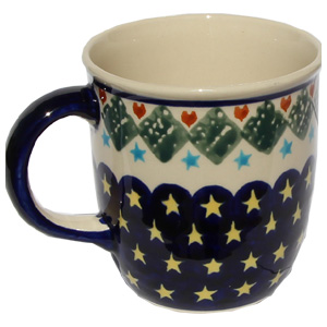 Polish Pottery Mug 12 Oz., Classic Design 198