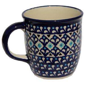 Polish Pottery Mug 12 Oz., Classic Design 217a