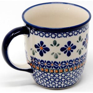 Mug 12 Oz. from Zaklady Boleslawiec in Mosaic Flower Pattern