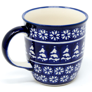 Polish Pottery Mug 12 Oz., Classic Design 243a