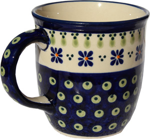 Polish Pottery Mug 12 Oz., Classic Design 296a