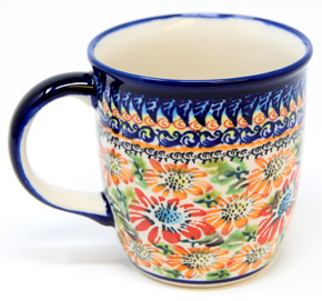Polish Pottery Mug 12 Oz., Unikat Signature 312 Art