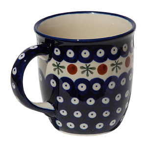 Polish Pottery Mug 12 Oz., Classic Design 41a
