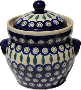 Polish Pottery Fermenting Crock Pot 1.7 liter / 1.8 quart, Peacock Classic Design