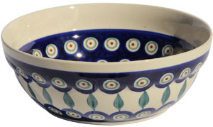 Polish Pottery Cereal / Salad Bowl  Decoration Inside, Peacock Design