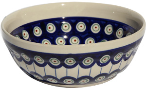 Polish Pottery Cereal / Salad Bowl  Decoration Inside, Classic Design 8