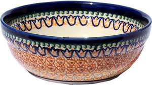 Polish Pottery Cereal / Salad Bowl, Unikat Signature Pattern 117 Art