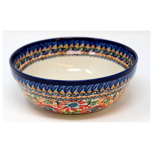 Polish Pottery Cereal / Salad Bowl, Unikat Signature Pattern 312 Art