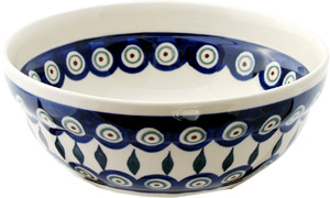 Polish Pottery Cereal / Salad Bowl, Peacock Design
