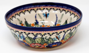 Polish Pottery Cereal / Salad Bowl  Decoration Inside, Unikat Signature Design 149 Art