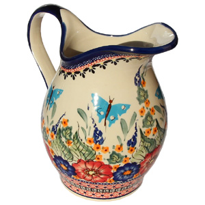 Polish Pottery Pitcher, Unikat Signature 149 Art