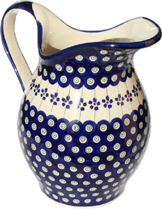 Polish Pottery Pitcher, Floral Peacock Design