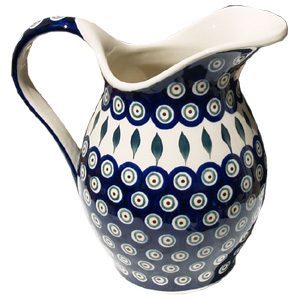 Polish Pottery Pitcher, Peacock Design
