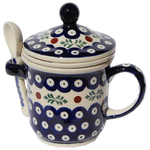 Polish Pottery Brew-in-Mug, Classic Design 242