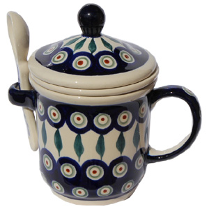 Polish Pottery Brew-in-Mug, Peacock Design