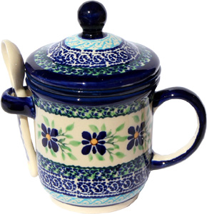 Polish Pottery Brew-in-Mug, Unikat Design DU121