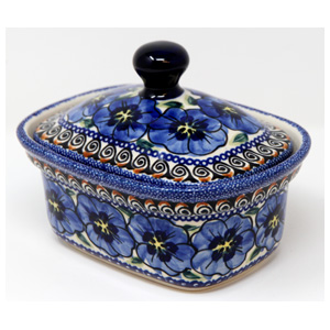 Polish Pottery Butter Tub, Unikat Signature Design 148 Art
