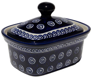 Polish Pottery Butter Tub, Classic Design 174a