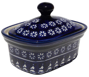 Polish Pottery Butter Tub, Classic Design 243a