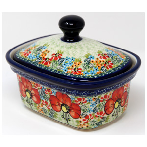 Polish Pottery Butter Tub, Unikat Signature Design 296 Art