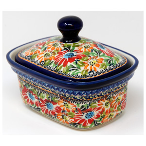 Polish Pottery Butter Tub, Unikat Signature Design 312 Art