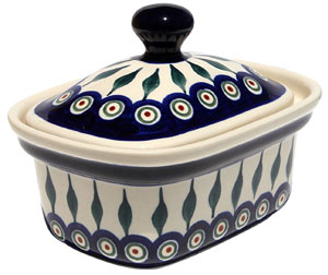 Polish Pottery Butter Tub, Peacock Design