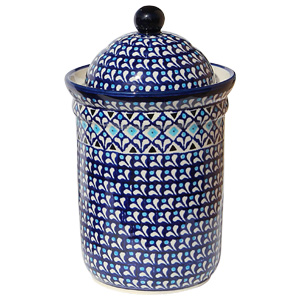 Polish Pottery Canister 5.5 Cups, Classic Design 217a