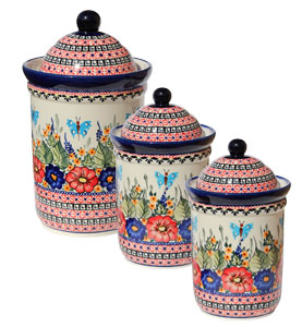 Polish Pottery 3 PC Canister Set , Unikat Signature Design 149 Art
