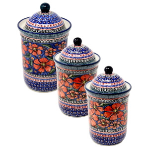 Canister Set 3 Piece Polish Pottery in Poppies Design painted by Karolina Mendrek