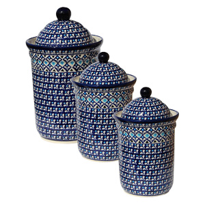 Polish Pottery 3 PC Canister Set, Classic Design 217a