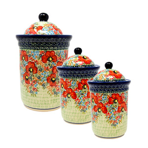 Polish Pottery 3 PC Canister Set , Unikat Signature Design 296 Art